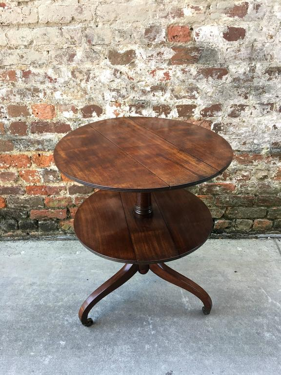 Mahogany English Two-Tier Dumb Waiter with Drop Leaves, 19th Century For Sale