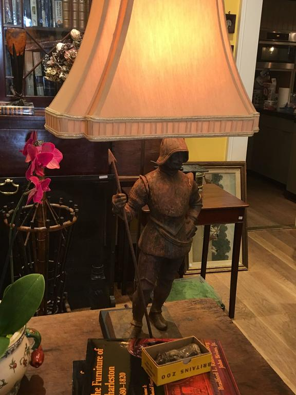 Pair of Cast Iron 19th Century Knights Converted to Lamps For Sale 2
