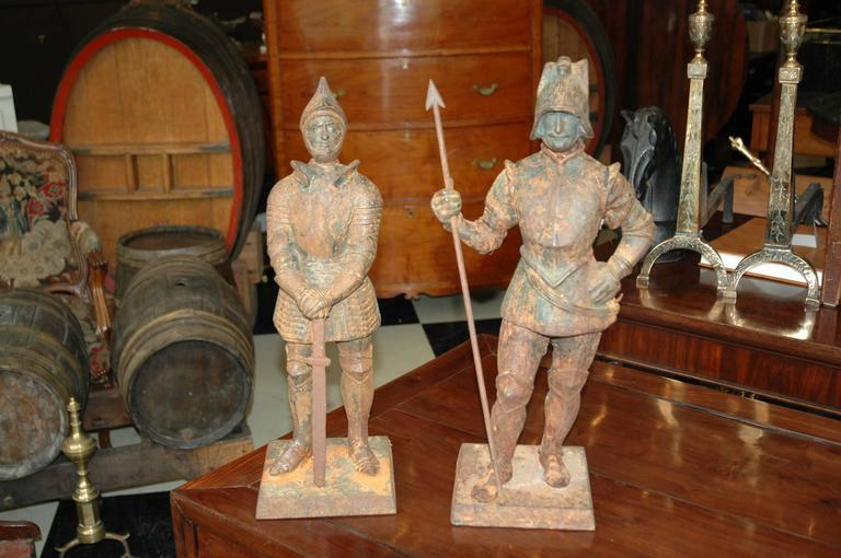 Late 19th Century Pair of Cast Iron 19th Century Knights Converted to Lamps For Sale