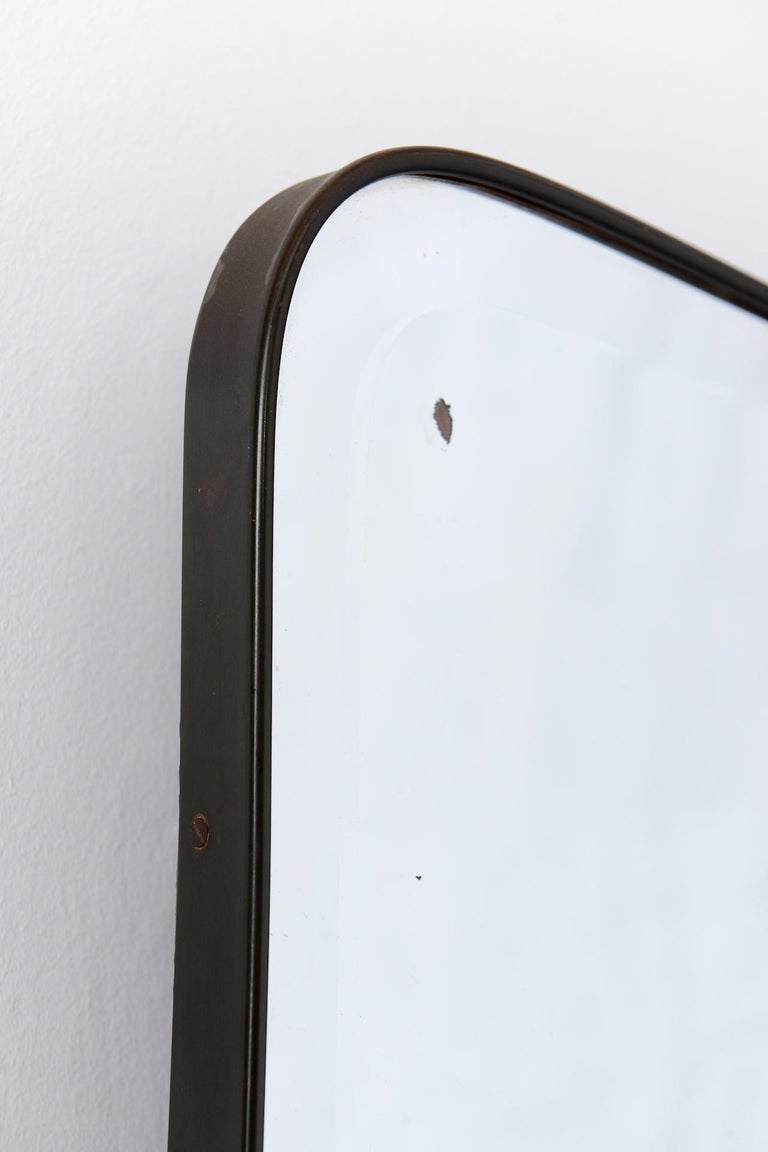 Mid-Century Modern Brass Framed Bevelled Italian Mirror, circa 1950 For Sale