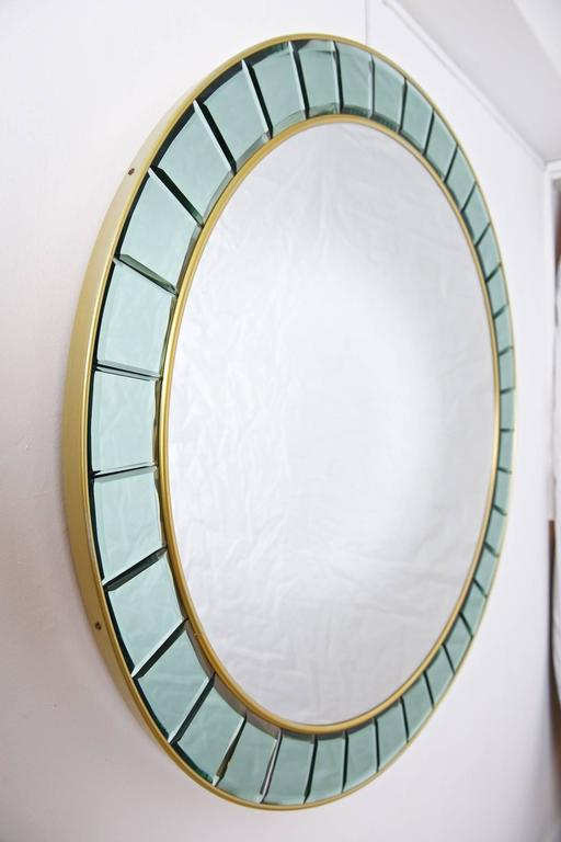 Mid-Century Modern Large Round Mirror style of Cristal Arte For Sale