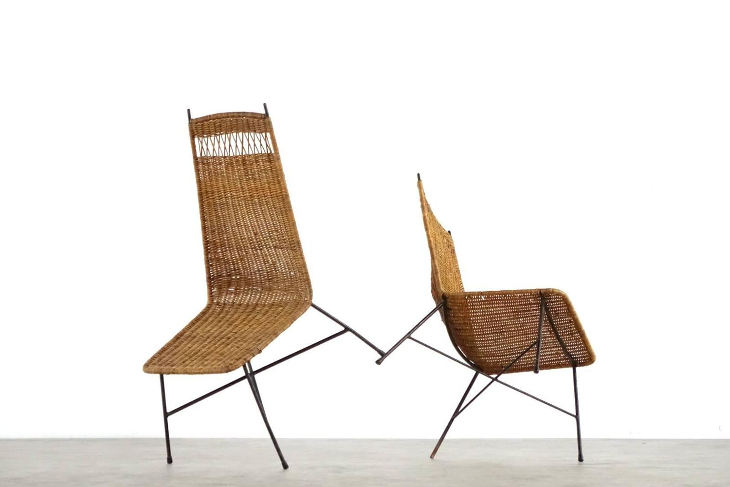 Nice Pair Of Mid Century Modern Wicker Basket Lounge Chairs From France For S