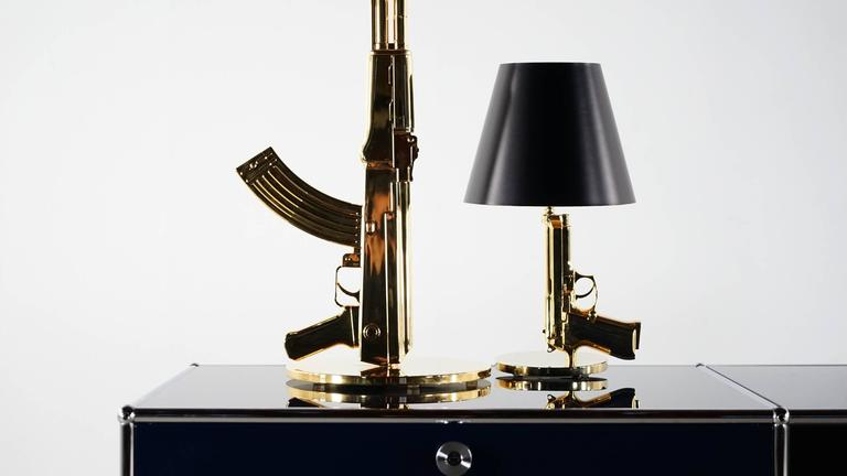 Philippe starck bedside gun lamp flos 18 karat gold for sale at 1stdibs for Philippe starck ak table lamp