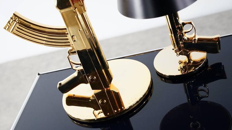 Philippe Starck Bedside Gun Lamp Flos 18Karat Gold For