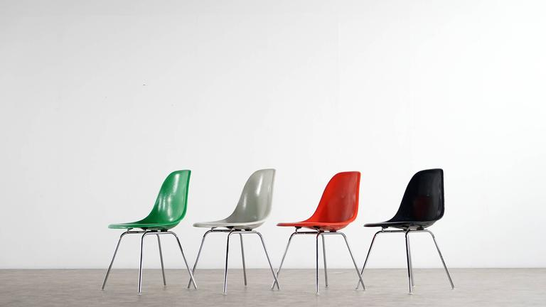 Charles Eames, Rare Set of Four Siede Chairs, Fehlbaum Prod, Vitra Etc In Excellent Condition For Sale In Munster, NRW