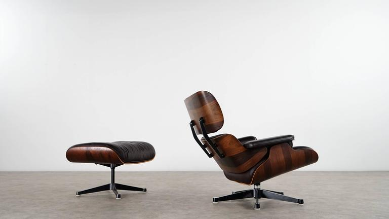 charles eames lounge chair and ottoman rosewood and brown leather herman miller at 1stdibs. Black Bedroom Furniture Sets. Home Design Ideas
