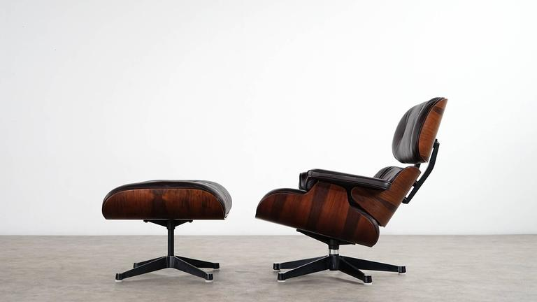 Charles Eames Lounge Chair And Ottoman Rosewood And Brown Leather - Charles eames lounge chair
