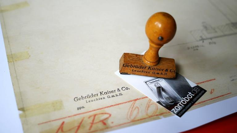 High quality print of the original Christian Dell drawing for Kaiser Idell and its famous Bauhaus lamp.  598mm x 455mm, stamped with original Kaiser Idell