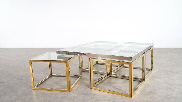 Mid Century Modern Maison Charles, Huge Coffee Table Chrome And Brass, Four  Nesting