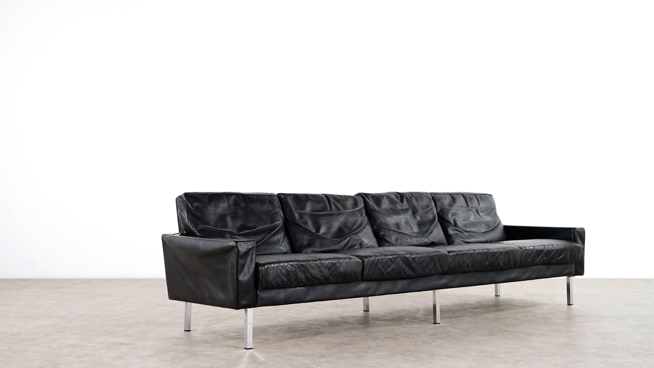 Genial Mid Century Modern George Nelson Loose Cushion Four Seat Leather Sofa, 1962  By