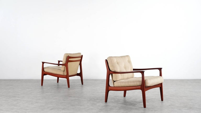 Eugen Schmidt Two Teak Lounge Chair by Soloform, Germany, Handcrafted In Good Condition For Sale In Munster, NRW