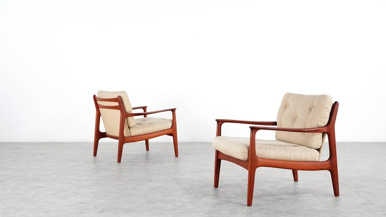 Eugen Schmidt Two Teak Lounge Chair by Soloform, Germany, Handcrafted For Sale 3