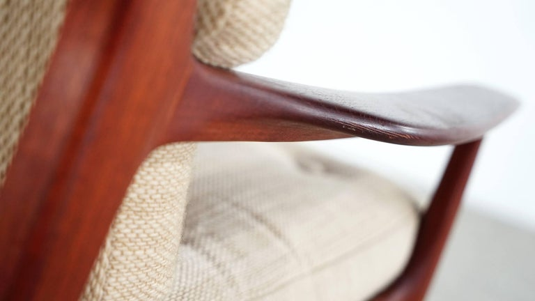Mid-20th Century Eugen Schmidt Two Teak Lounge Chair by Soloform, Germany, Handcrafted For Sale