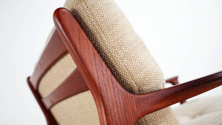 Wool Eugen Schmidt Two Teak Lounge Chair by Soloform, Germany, Handcrafted For Sale