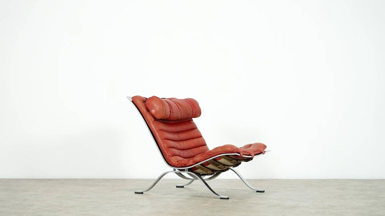Arne Norell, Ari Lounge Chair and Ottoman, 1966 or Norell Möbel, Aneby Sweden In Excellent Condition For Sale In Munster, NRW