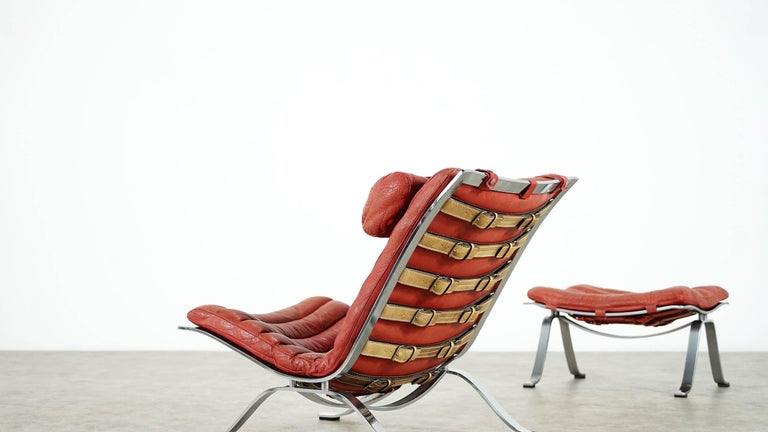 Arne Norell, Ari Lounge Chair and Ottoman, 1966 or Norell Möbel, Aneby Sweden For Sale 1