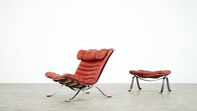 Swedish Arne Norell, Ari Lounge Chair and Ottoman, 1966 or Norell Möbel, Aneby Sweden For Sale