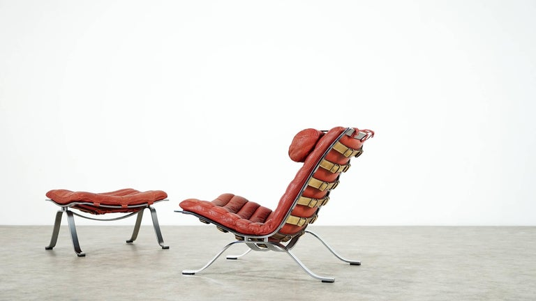 Steel Arne Norell, Ari Lounge Chair and Ottoman, 1966 or Norell Möbel, Aneby Sweden For Sale