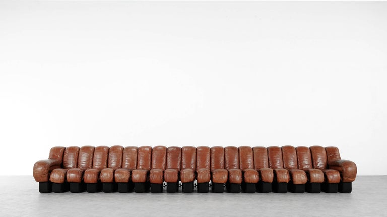De Sede Ds 600 Sofa by Ueli Berger and Riva 1972, Chocolate Leather 20 Elements In Good Condition For Sale In Munster, NRW