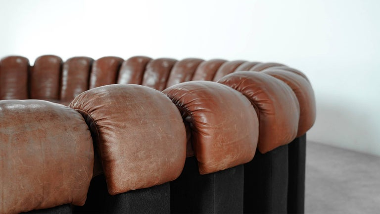 De Sede Ds 600 Sofa by Ueli Berger and Riva 1972, Chocolate Leather 20 Elements For Sale 8