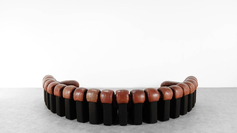De Sede Ds 600 Sofa by Ueli Berger and Riva 1972, Chocolate Leather 20 Elements For Sale 3