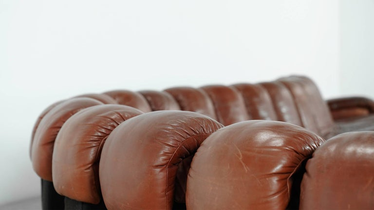 De Sede Ds 600 Sofa by Ueli Berger and Riva 1972, Chocolate Leather 20 Elements For Sale 4