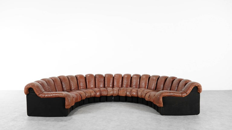 De Sede Ds 600 Sofa by Ueli Berger and Riva 1972, Chocolate Leather 20 Elements For Sale 2