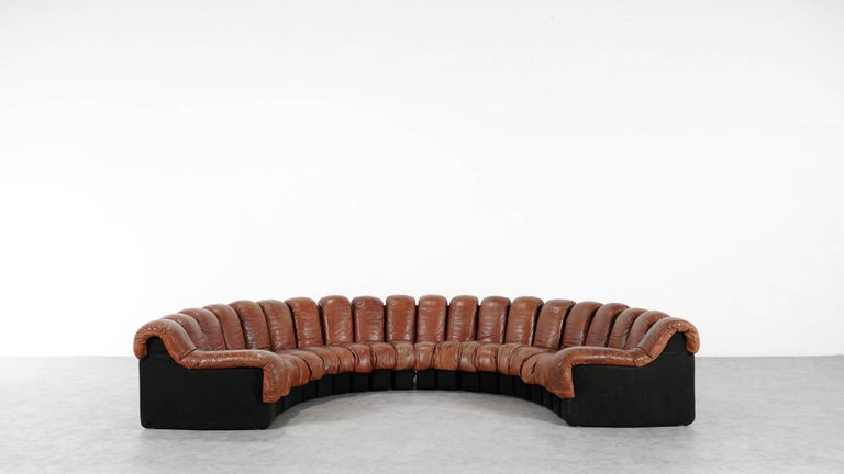 De Sede Ds 600 Sofa by Ueli Berger and Riva 1972, Chocolate Leather 20 Elements For Sale 7