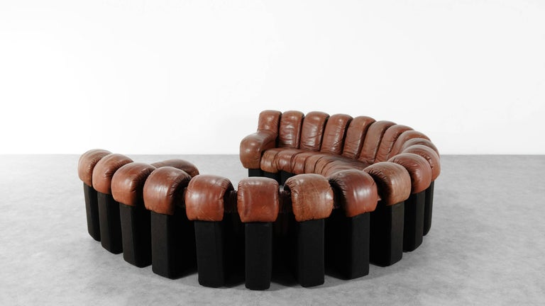 De Sede Ds 600 Sofa by Ueli Berger and Riva 1972, Chocolate Leather 20 Elements For Sale 5