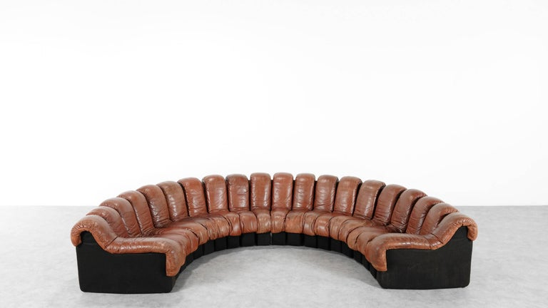 Mid-Century Modern De Sede Ds 600 Sofa by Ueli Berger and Riva 1972, Chocolate Leather 20 Elements For Sale