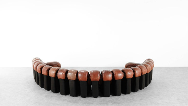 Swiss De Sede Ds 600 Sofa by Ueli Berger and Riva 1972, Chocolate Leather 20 Elements For Sale