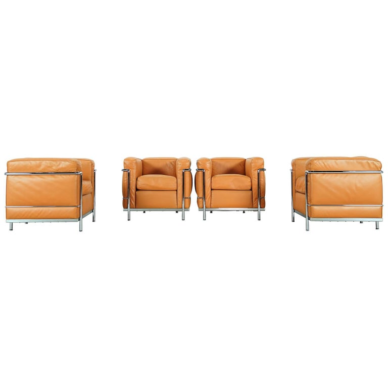 Two Le Corbusier LC2 Lounge Chair by Cassina, Cognac Leather, Signed & Engraved For Sale