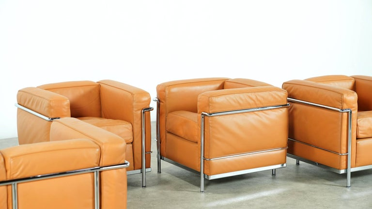 Steel Two Le Corbusier LC2 Lounge Chair by Cassina, Cognac Leather, Signed & Engraved For Sale