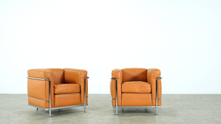 Two Le Corbusier LC2 Lounge Chair by Cassina, Cognac Leather, Signed & Engraved For Sale 2