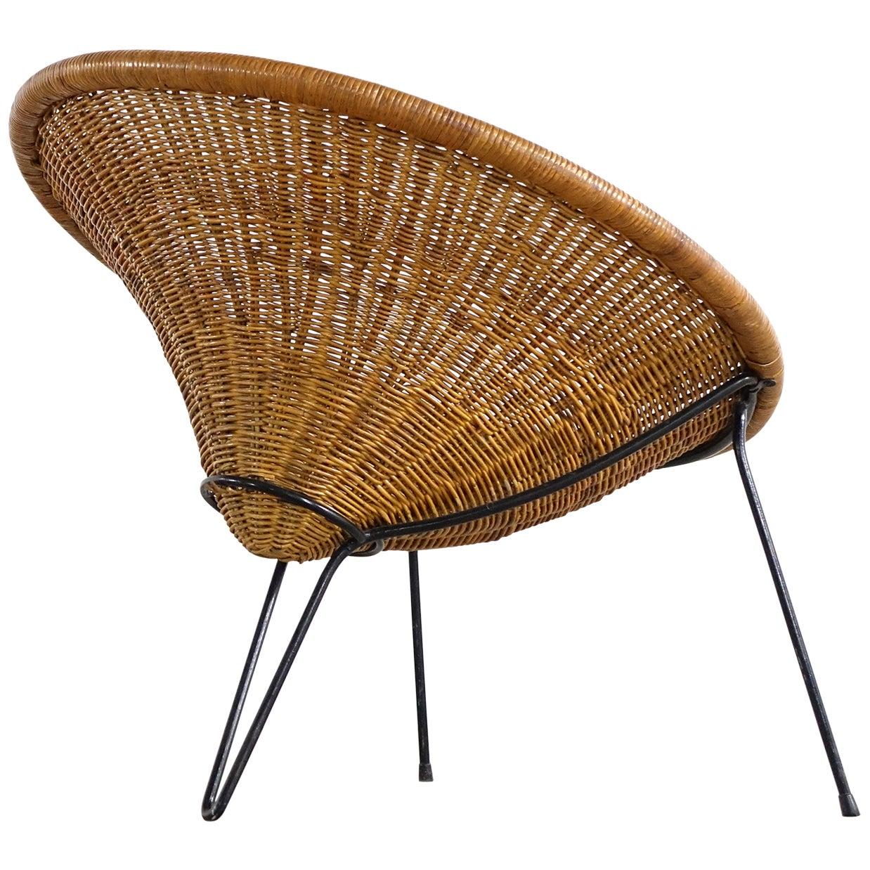 Tripod Rattan Lounge Chair Attributed to Roberto Mango, Italy, 1952