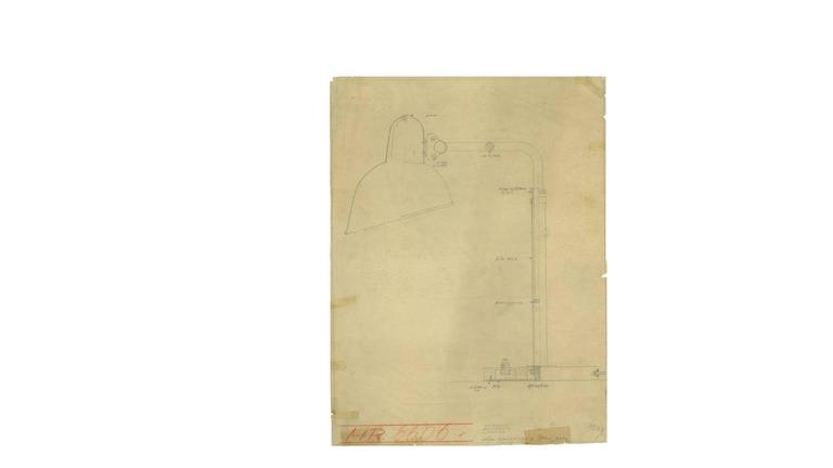 Early 20th Century Print of the Original Christian Dell Drawing for Kaiser Idell, Bauhaus Lamp For Sale