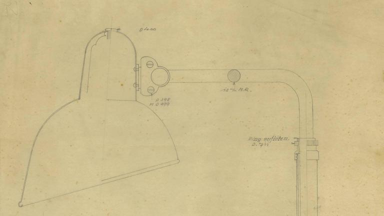 German Print of the Original Christian Dell Drawing for Kaiser Idell, Bauhaus Lamp For Sale