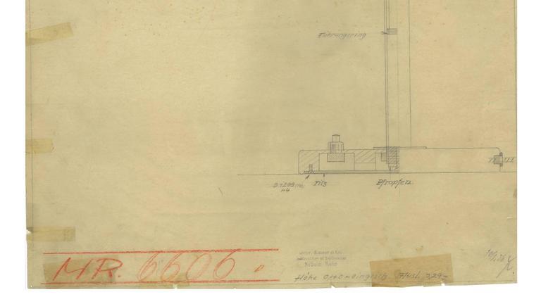 Drucken der Originalzeichnung Christian Dell für Kaiser Idell, Bauhaus-Leuchte 4