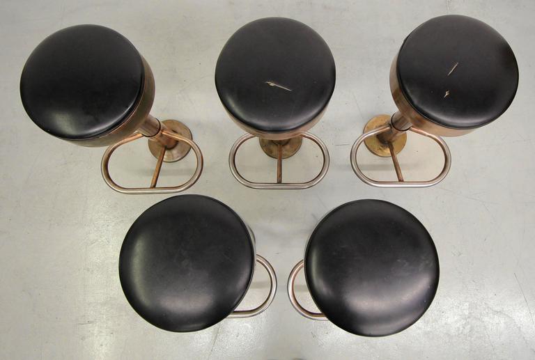 Set Of Five Copper Machine Age Industrial Column Counter