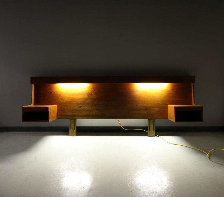 Danish Teak King Size Headboard With Lights And Floating Nightstands 3