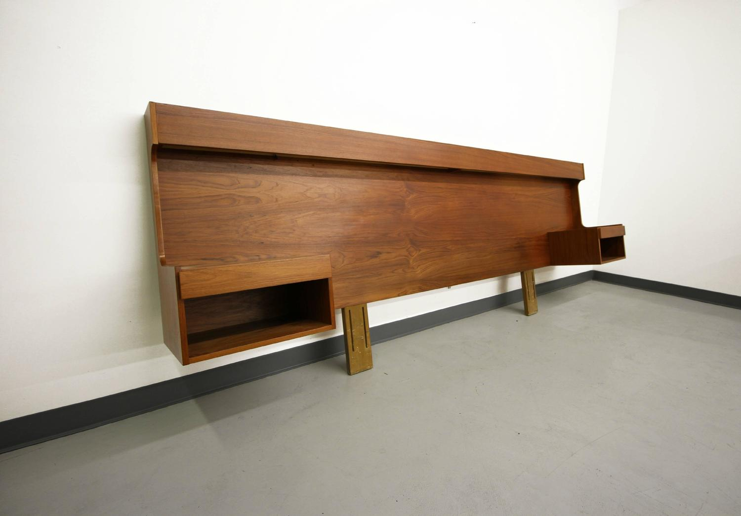 Danish Teak King Size Headboard with Lights and Floating Nightstands at 1stdibs