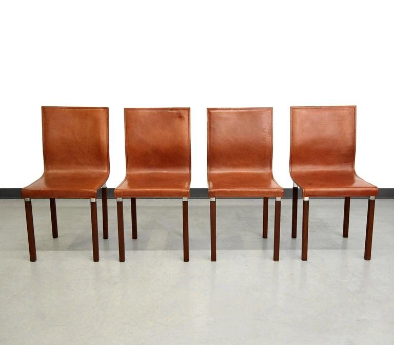 Exceptionnel Set Of Four Leather Emile Industrial Modern Dining Chairs By Zele Company