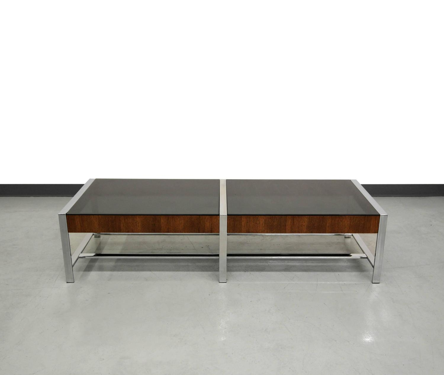 Mid Century Modern Chrome And Smoked Glass Coffee Table At 1stdibs
