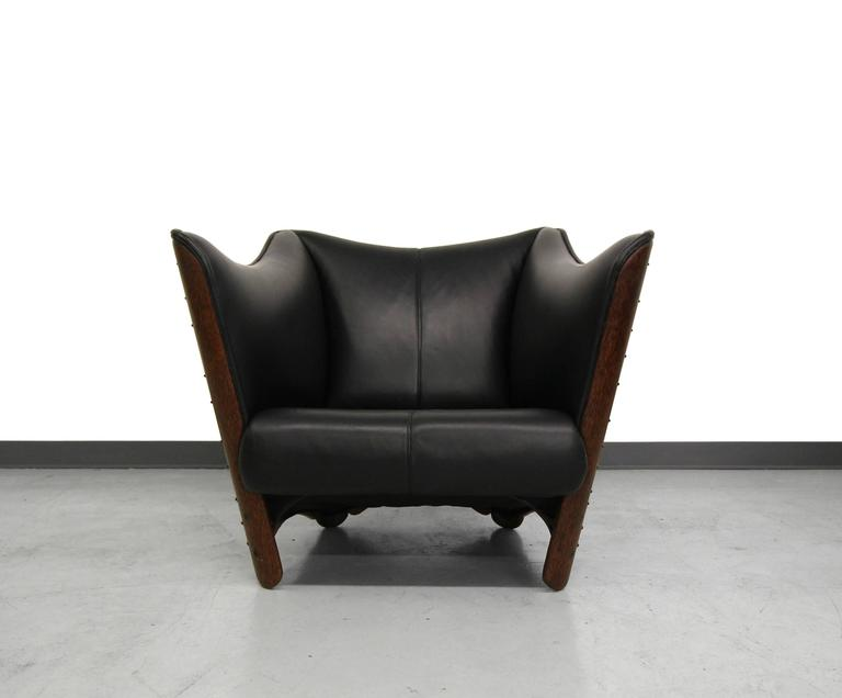 Pacific Green Palmwood And Leather Cayenne Chair At 1stdibs