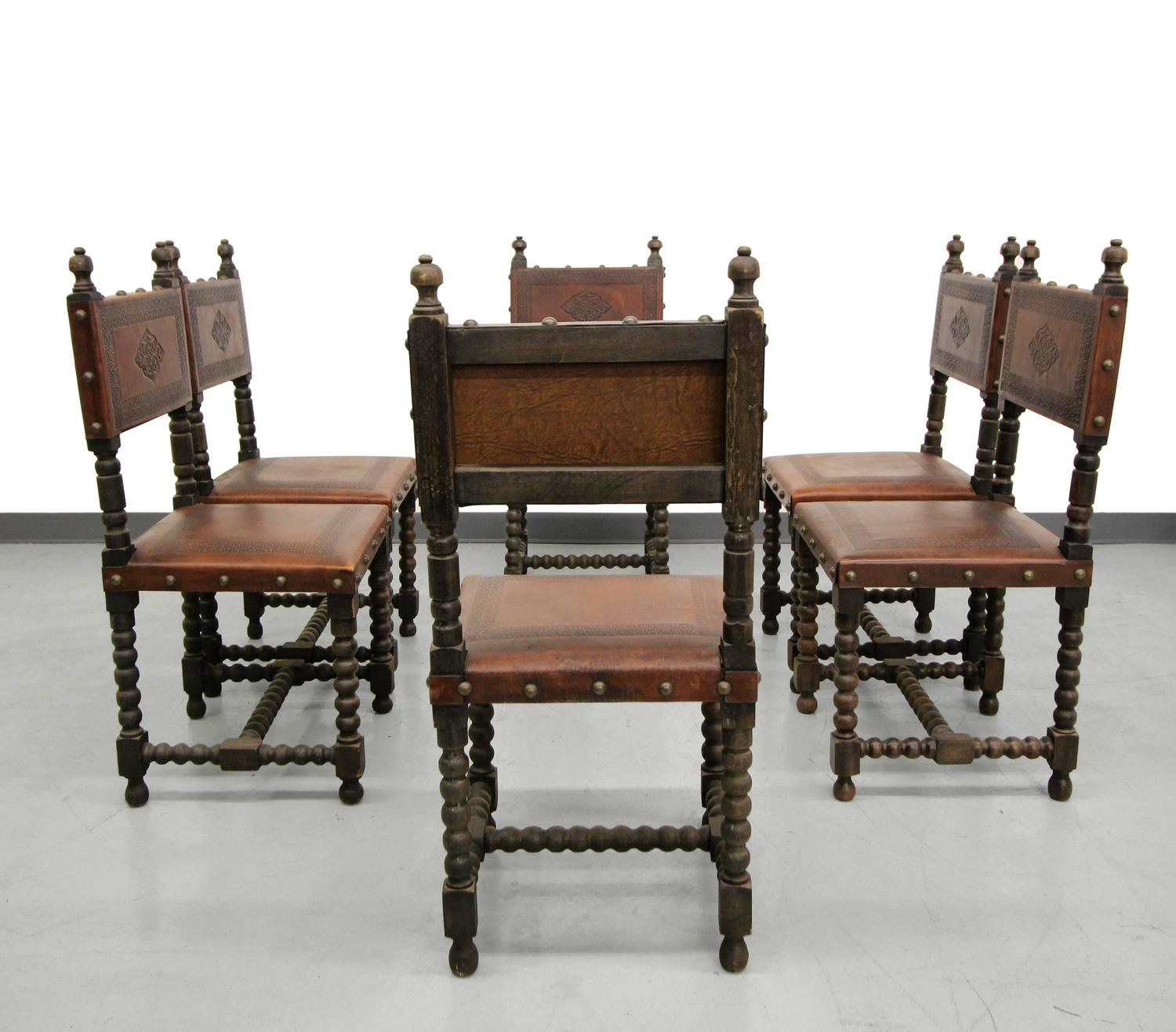 Set Of Six Antique Spanish Colonial Stamped Leather Dining