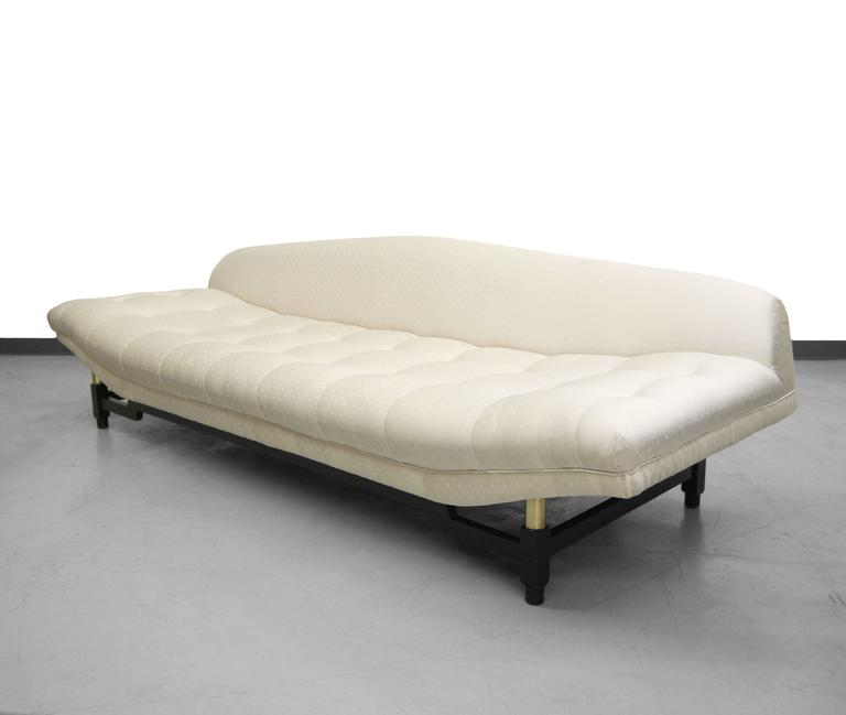 Mid Century Gondola Sofa with Brass Details For Sale at