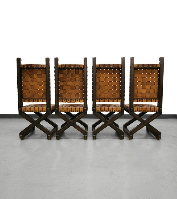 Set Of Four Mid Century Woven Leather And Wood Industrial