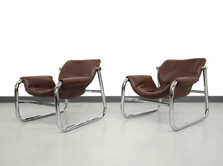 Pair Of Chrome And Leather Alpha Lounge Chairs By Maurice Burke, For Pozza  Brazil.