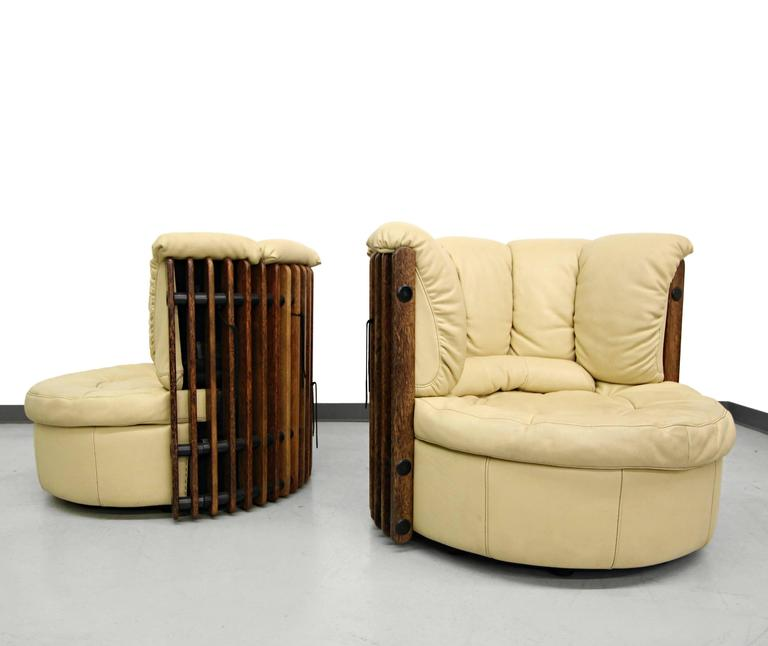Pair Of Pacific Green Isle D Palm Palm Wood And Leather