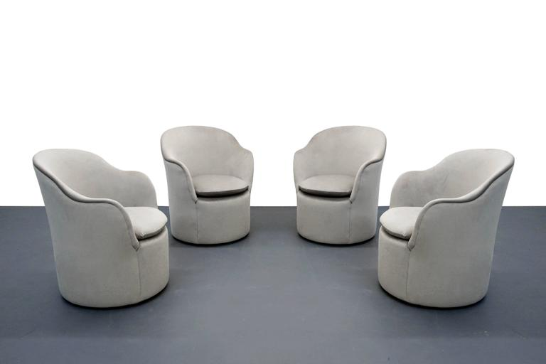 Set of Four Mid-Century Tulip Side Chairs by John Saladino for Dunbar 3